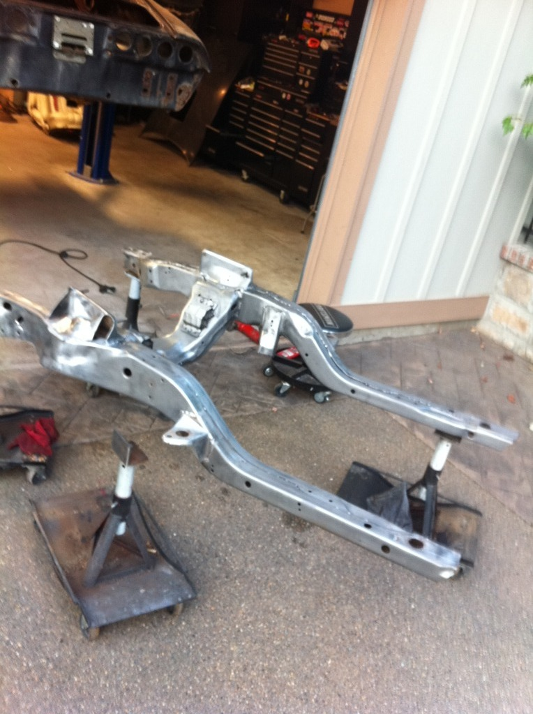 Sub frame blasted and sanded ready for self etching primer and paint ...